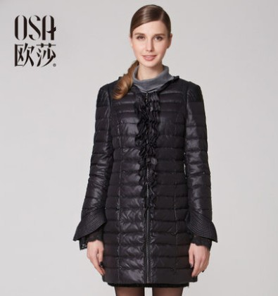 OSA 2014 Design New Slim Winter Down Coat Jacket Outerwear Flare Sleeve Lace Womens Black Thin Parka Overcoat Tops SY31048(China (Mainland))