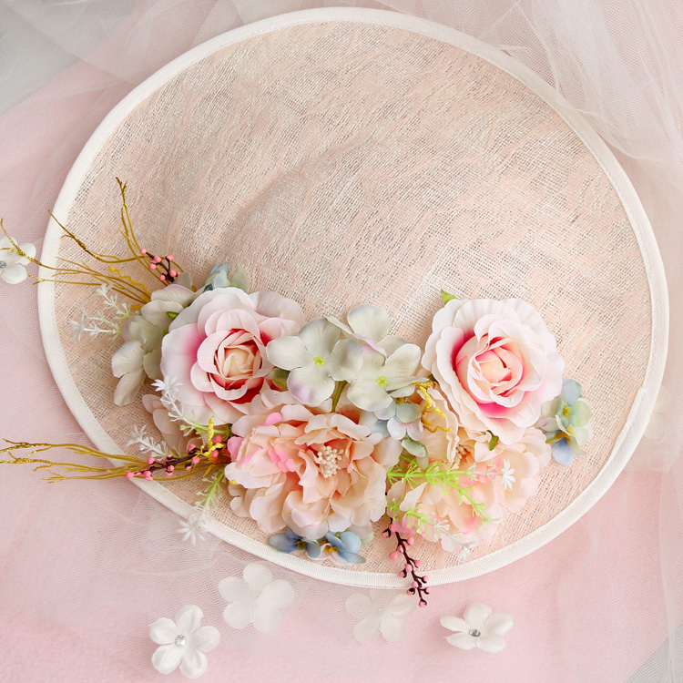 Royal Bride Wedding Dress Hair Accessories Party DIY Handmade Flower Sinamay Fascinator Clip Hat For Show/Cocktail Headdress(China (Mainland))