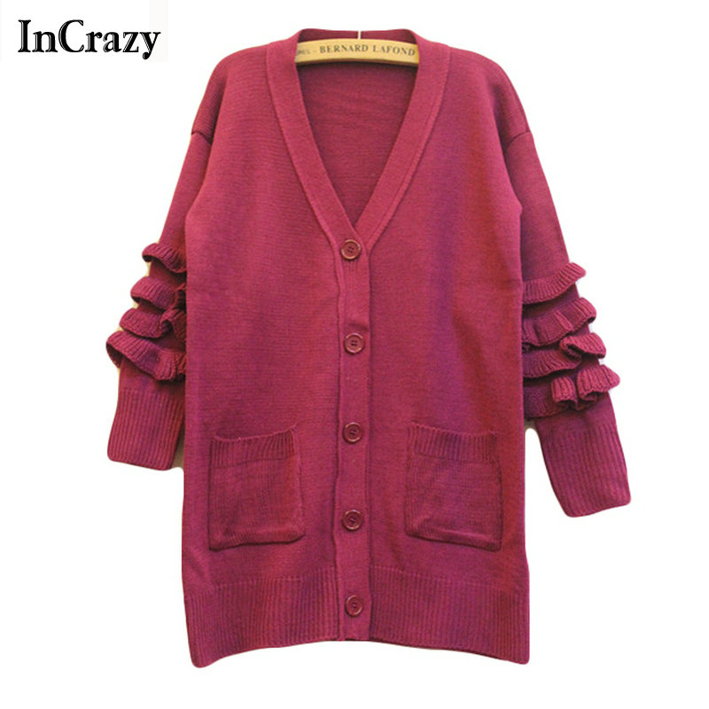 2015 Autumn Knitted Sweater For Women V Neck Single Breasted 3/4 Butterfly Sleeve Purple Brand Casual Cardigans(China (Mainland))