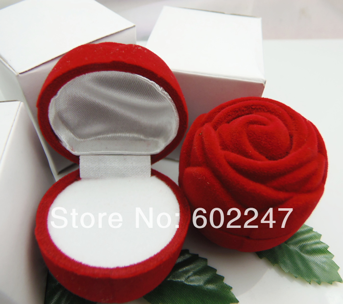 Valentine's Day Lover Gift Red Velvet Rose Rings Boxes s - Topbeads Jewelry store