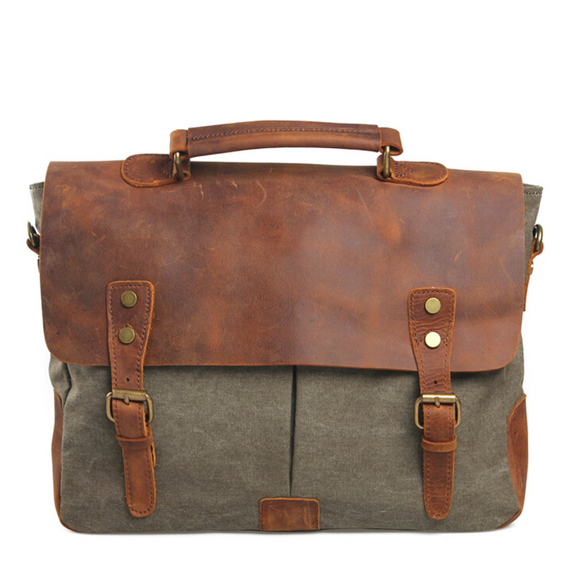 Vintage Genuine leather briefcases Canvas Briefcase mens bags bag men Messenger bags handbags bolsas de mar capasta executiva<br><br>Aliexpress