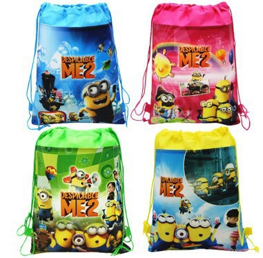 FREE Shipping by FEDEX 600pcs/lot 2014 Wholesale Despicable me 2 Minion Storage Bags Drawstring Cartoon Bags for Kids(China (Mainland))