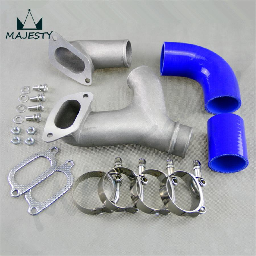 ALUMINUM TOP MOUNT INTERCOOLER Y-PIPE kit Blue FIT FOR 02-07 SUBARU IMPREZA WRX/STI GD/GG(China (Mainland))