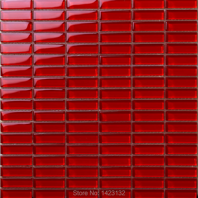 Crystal Glass Tile Backsplash Red Glass Mosaic Tile Strip 663 Kitchen Backsplash Tiles Crystal