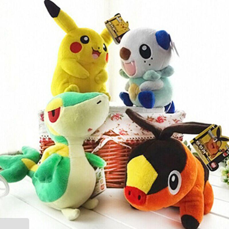 4 pcs/set 30 cm Pokemon plush doll toy pikachu Oshawott Snivy Tepig Stuffed Animal Plush Doll juguetes kids toys Gift(China (Mainland))