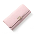 Metallic Buckle Ornament Fashion Long Wallet Women High Quality Solid Color Tri fold Money Clip Ladies