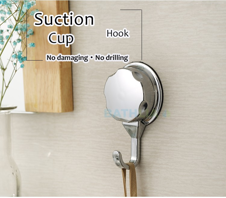 Chromed Suction Cup Kitchen Hooks for Towel Strong Adhesive Hooks Bathroom Wall Hooks  Heavy Duty Vacuum Suction Robe Hooks