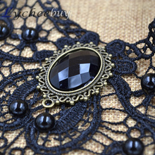 Vintage Steampunk Necklace Black Lace Beads Rhinestone Choker Collar Necklace Gothic Jewelry
