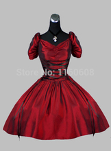 Gothic Wine Red Short Victorian Dress