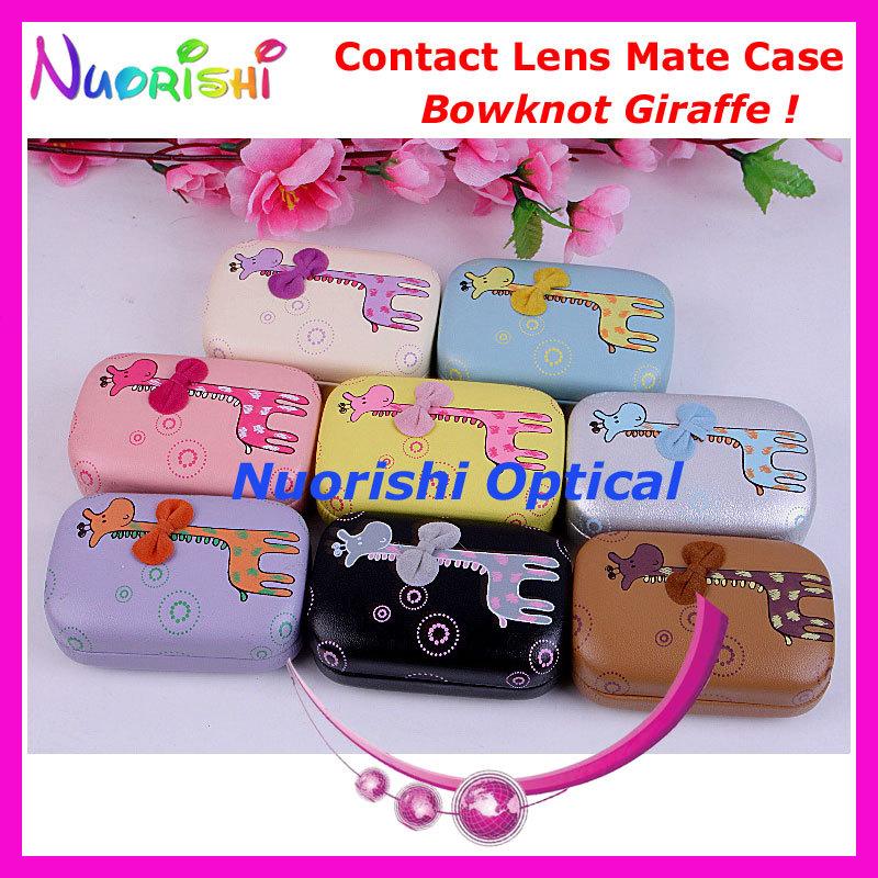 10pcs Bowknot Giraffe design Contact Lens Case with Mirror C803 contact lens mate box Free Shipping