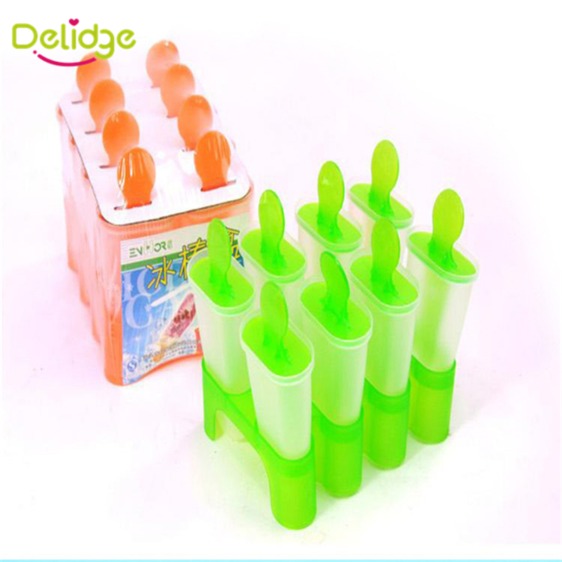 1 pcs 8 Cells Frozen Ice Mold Ice Cream Pop Mold Popsicle Maker Lolly Mould Tray Pan DIY Random Color 8 pcs/set Ice Mold(China (Mainland))