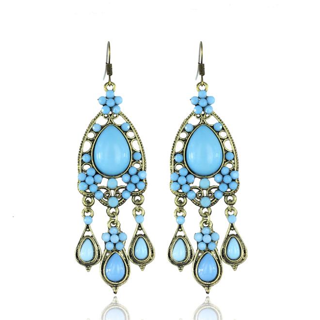 Big gold earrings for wedding : Perfect wedding big earrings long gold plated dangle