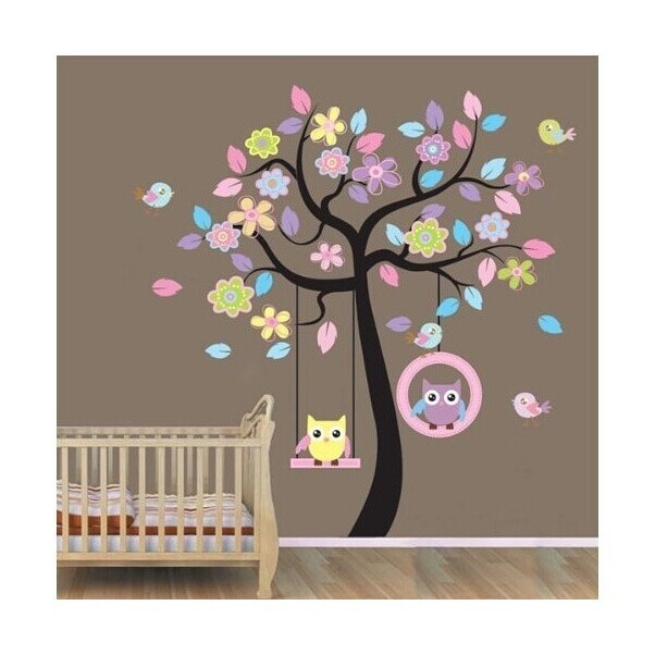 2 pcs XLarge Owl Bird Swing Wall Stickers Tree for kids rooms Children Baby Nursery Rooms Home Decor(China (Mainland))