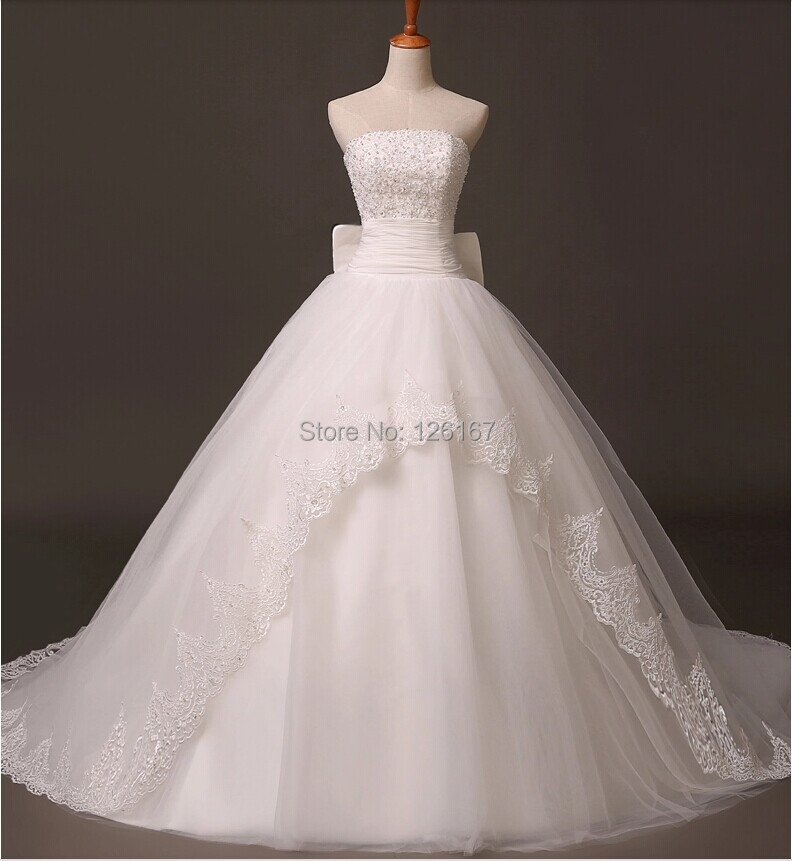Real picture strapless wedding dress ball gowns bridal for Best bustier for strapless wedding dress