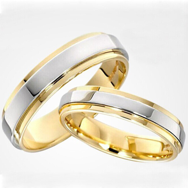 two tone gold and platinum plated his and hers engagement