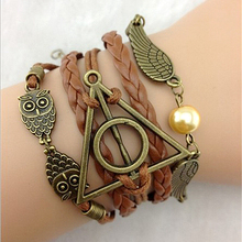 Antique Bronze harry potter magic hallows bracelet, harry potter bracelet, owl wing bracelet Wholesale(China (Mainland))