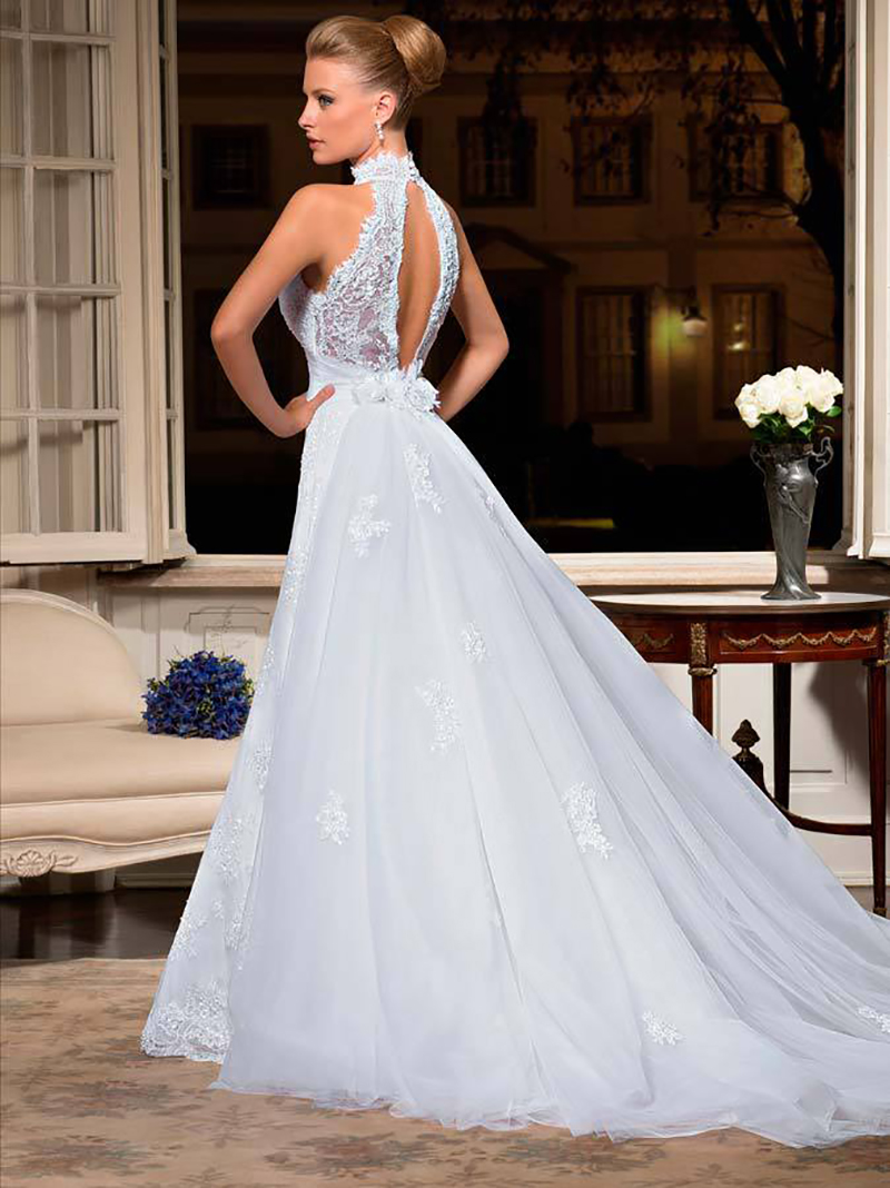 Spring Summer High Neck Open Back Lace Wedding Dresses Sexy Garden Church Off the Shoulder