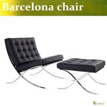 U-BEST high quality Barcelona Style Modern Pavilion Chair with Ottoman ,real leather with Stainless Steel Frame(China (Mainland))