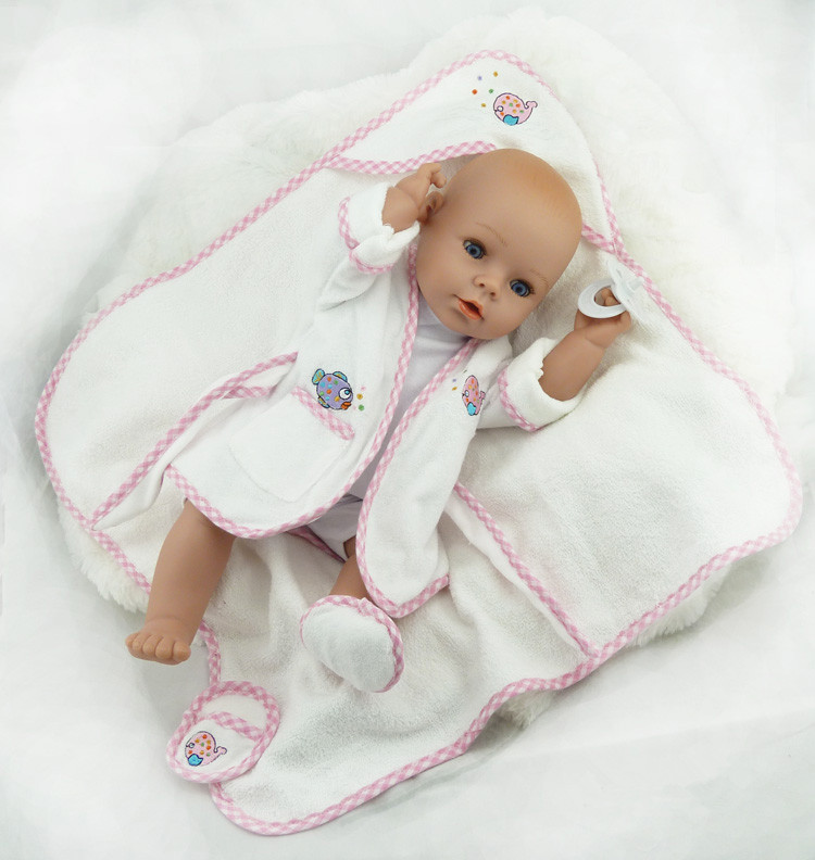 Фотография 40cm Silicone Reborn Baby Doll Toy Newborn Baby Doll Girls Birthday Gift Present Plastic Vinyl Doll Play House Bathe Shower Toy