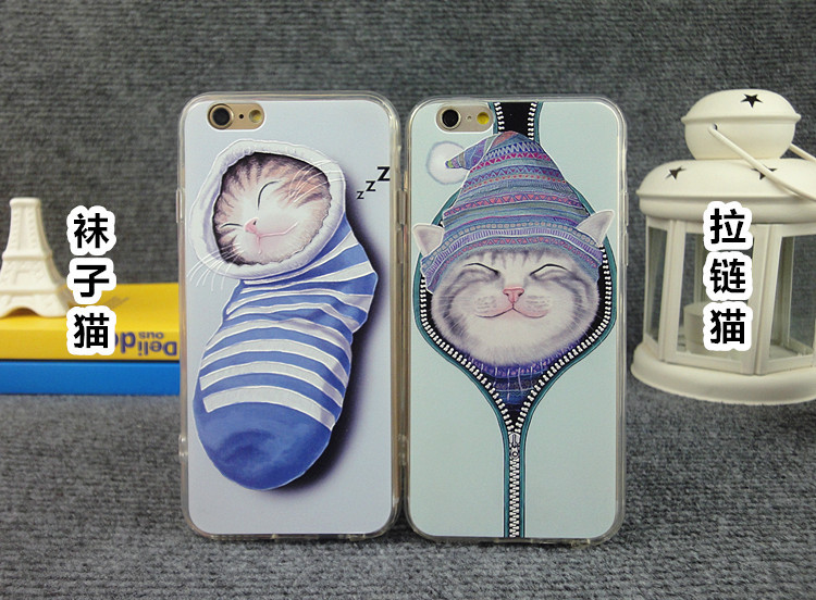Lovely Cartoon Cat Back Case Cover For iPhone Case Socks Cat Pattern For iphone 6 4.7inch/ 6 PLUS Mobile Phone Shell ESJK0213(China (Mainland))