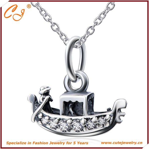 Unique Design Nautical Boat Pirate with CZ 925 Sterling Silver Pendant Necklace(China (Mainland))