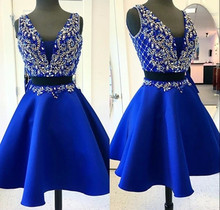 2017 luxury royal blue homecoming dresses low v neck crystal beaded two piece girl gown for prom party vestidos de 15 cortos(China (Mainland))