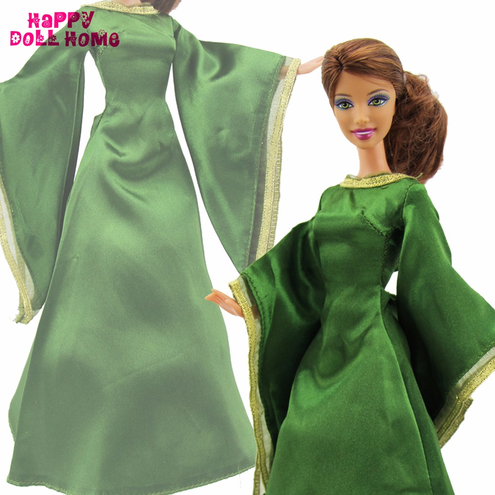 Fairy Story Queen Gown Copy Courageous Merida Lengthy Sleeves Unique Noble Inexperienced Robe Equipment For Barbie Kurhn Doll 11.5″ Garments