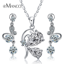 Full drill Cubic zirconia luxury copper earrings/butterfly pendant necklaces statement jewelry sets eManco 2016 new BS00015(China (Mainland))