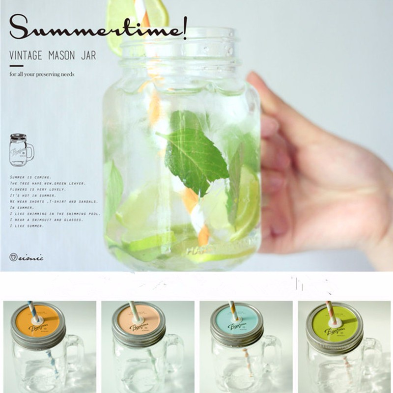 450ML Mason Jar glass cup beverage mug with lid straw summer Ice Cream Fruit Cold Drinking Jars juice cup gifts icecream Jar(China (Mainland))