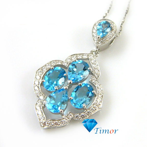 Wholesale New 2.5ct WONDERFUL Fine Jewelry Women Natural Swiss Blue Topaz Necklaces Pendants 925 Sterling Silver Free Shipping
