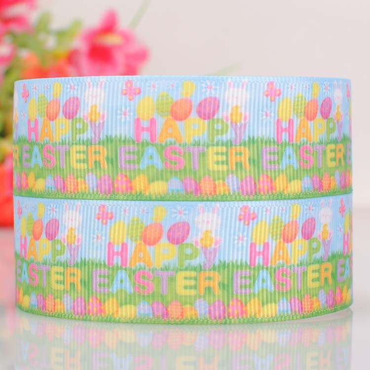 """100yards 7/8"""" (22mm) Blue and green Rabbit Easter party ribbon,Happy Easter day gift ribbon Free shipping(China (Mainland))"""