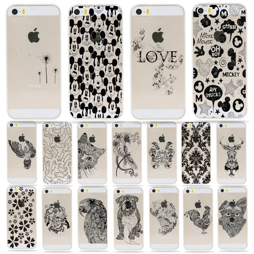 Mickey Mouse Love Lettering pattern cell phone case coque for apple Iphone 5 5s se plastic silicone back cover soft/hard shell(China (Mainland))