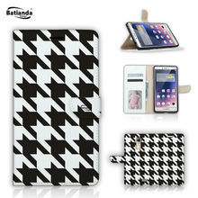 "Phone Cases For OPPO R7S 5.5"" PU Leather Flip Stand Wallet Case For OPPO R7S Tartan Check Pattern Cases Cover"