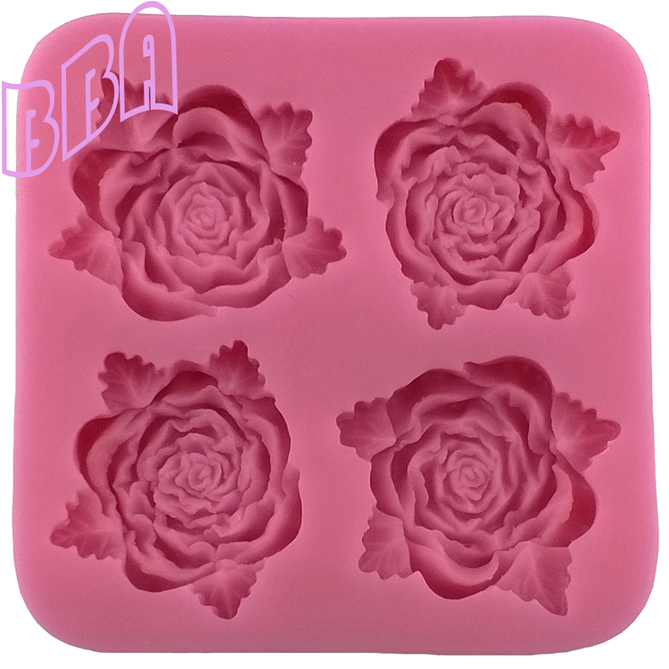100% New Silicone Material 3D Pink Rose Flower Mold Chocolate Mould Cake Tools - BBA Bakery Co., Ltd. store