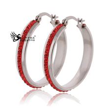 European fashion earrings female temperament wild ladies big ears ring inlaid crystal jewelry 925 silver earrings ear ring