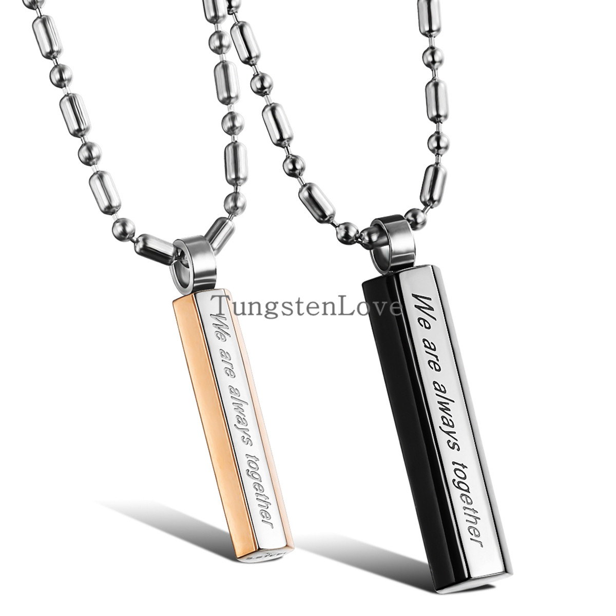"""Wholesale Fashion Jewelry Couples Lovers Titanium Steel Pendant Necklace """"We are always together"""" Men Women collares 2015(China (Mainland))"""