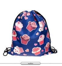 2015 new fashion time limited Daily backpack unisex DONUTS PINK softback 3d print polyester women backpacks