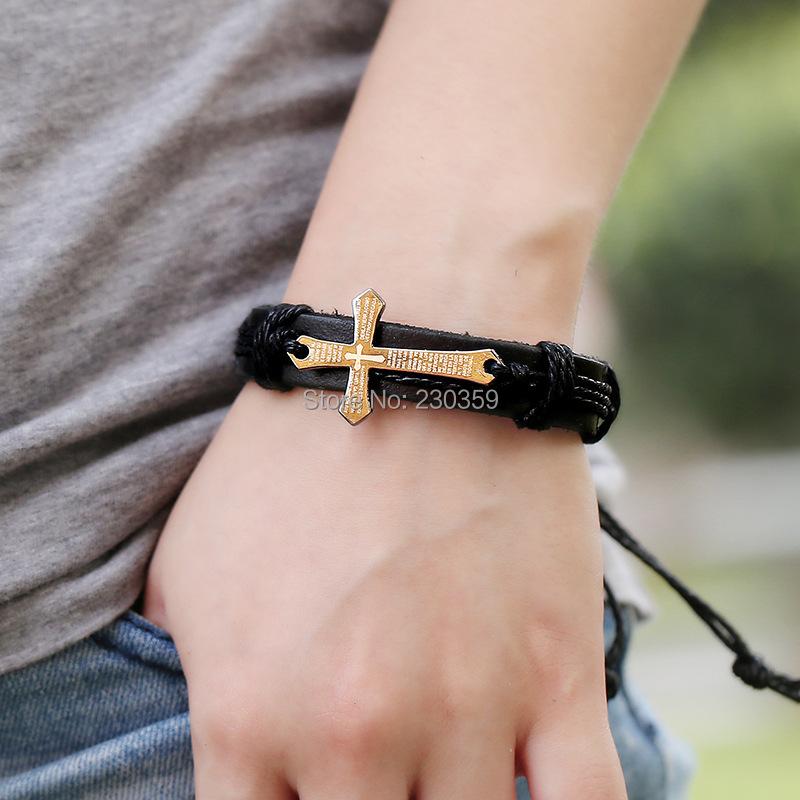 Cross bracelet Leather wrap braided Jewelry true religious