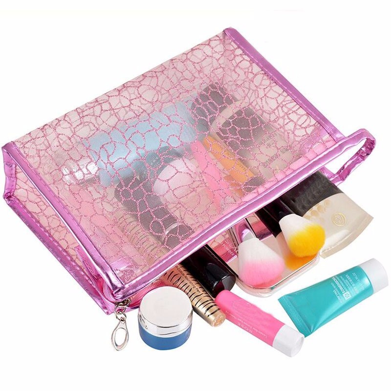 New Waterproof Cosmetic Bag Transparent PVC Envelope Toiletry Bags Makeup Cases Traveling Durable Small Storage Organizer(China (Mainland))