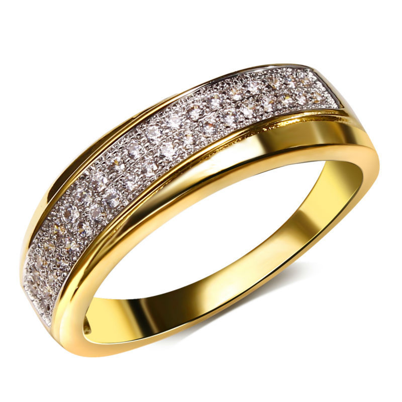 Dreamcarnival1989 Women Wedding Ring Stacking Rhodium Gold-color Two Tones Cubic Zircon Paved Anillos Mujer Sizes 6 7 8 9 10