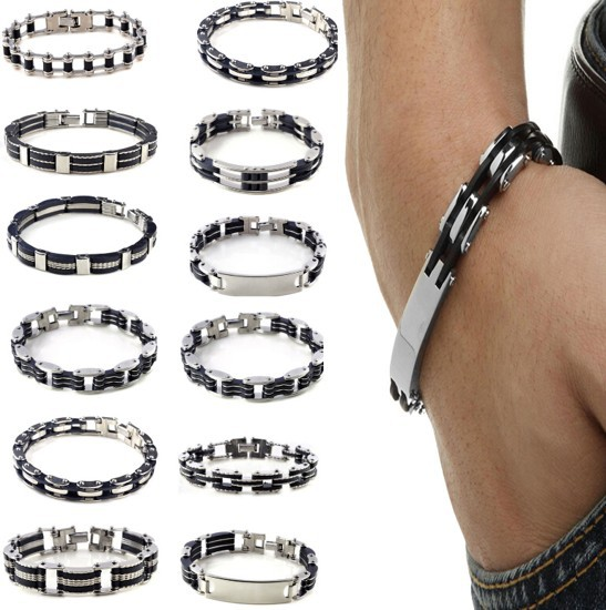 """8.5"""" Men's Jewelry Bracelet Stainless Steel Black Rubber Cuff Bangle Hand Chain(China (Mainland))"""