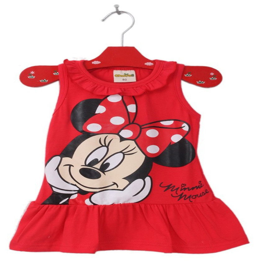 2017 New Baby Girls 2-6 Yrs Summer Dress Girl Cute Minnie Mickey Mouse Sleeveless Dress Girl Casual Dress 46C(China (Mainland))