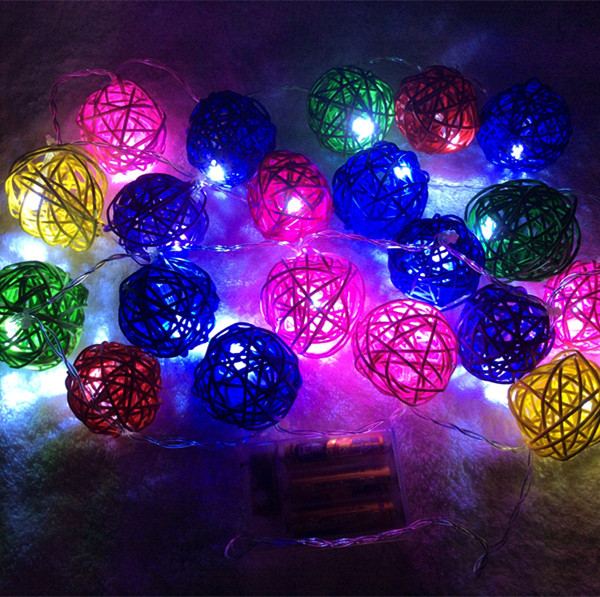 20pcs Rattan Balls 6 ft 75 inch Home LED Decoration Romantic Rattan ball string lights with 3pcs AA Battery Box Christmas Light(China (Mainland))