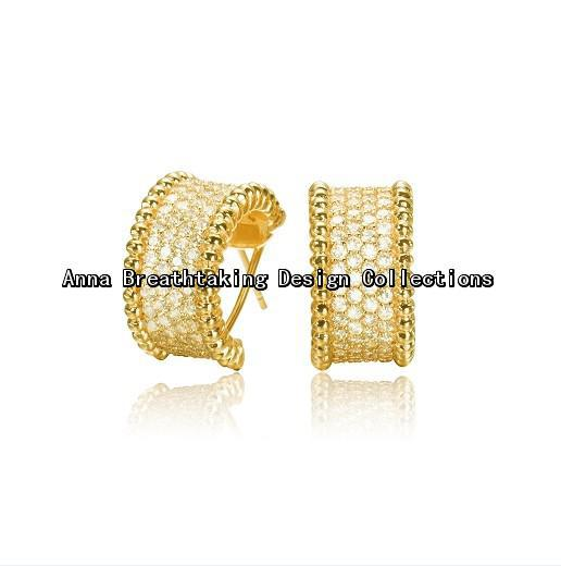 Fashion Lucky Designer Gem-Studded Earring Band,Platinum Steel Material with Full Clear Stones.The Most Dazzling Earring For Her(China (Mainland))