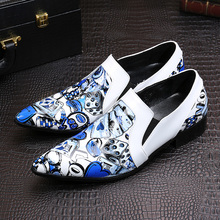 New Classic Italy Style CARDS Pattern Printing White Men Loafers Wedding Party Men Dress Shoes Fashion Men's Flats Oxford Shoes(China (Mainland))