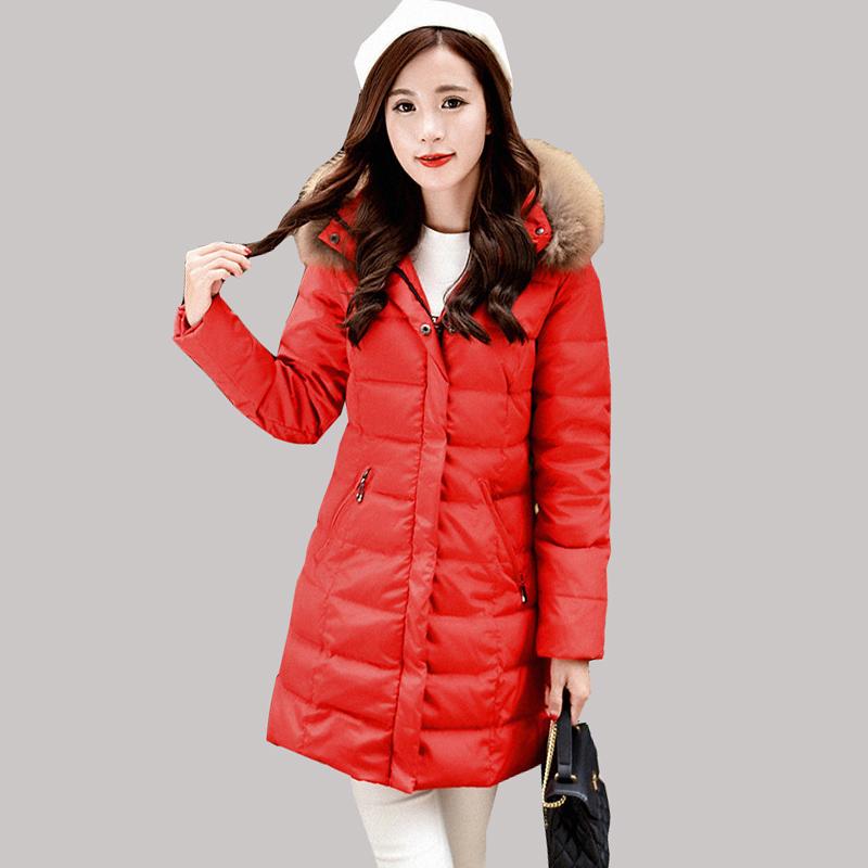 2015 New White Duck Down Jacket Female Raccoon Fur Collar Coats Long Korean Slim Coat Women Winter Parkas manteau femme JY-1092