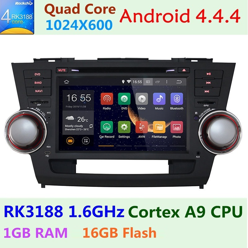 Quad Core 1024*600 2 Din Android 4.4 Car Dvd Player Autoradio GPS For Toyota Highlander GPS Navigation Audio Stereo Head Unit Pc(China (Mainland))
