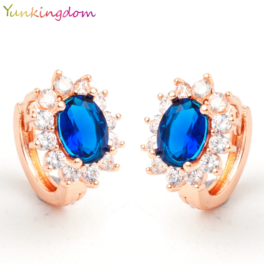 Yunkingdom High quality CZ diamond crystal 18 k rose gold plated fashion show hoop classic ear ring 5 colors(China (Mainland))