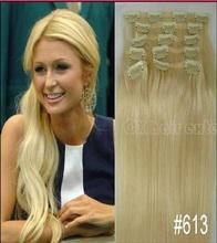 # 613 легкий блондинка бразильский виргинский реми заколки в человеческих волос полное глава 7 шт. комплект 70 г 80 г 100 г 120g140g