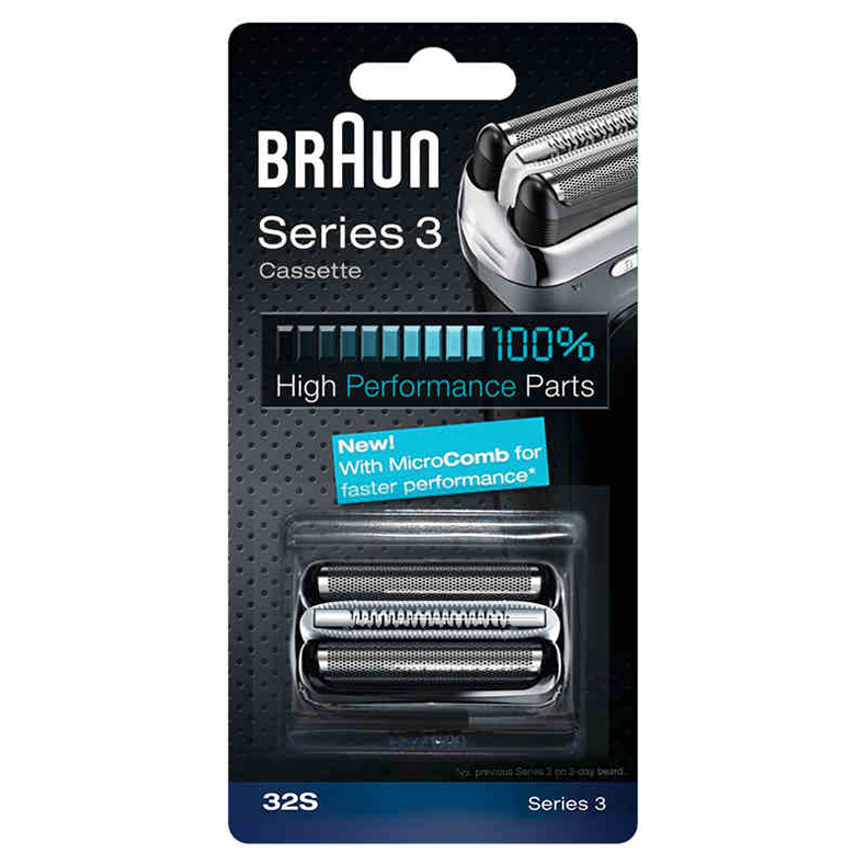 Braun 32S Series 3 Shaver Head Foil and Cutter Replacement 32B Electric Shaver Blades (320 330 340 350CC 360 370 380 390CC)